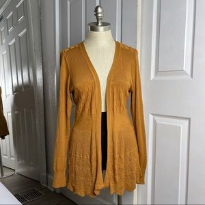 Dreamers Mustard Yellow Open Front Cardigan